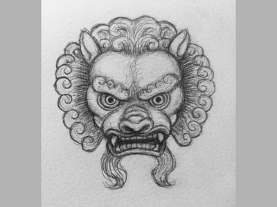 Chinese Stone Lion drawing chinese world lion day lion illustration sketch