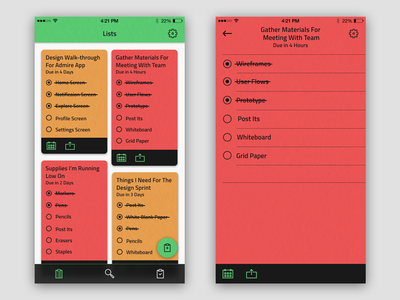 To-Do List App  iphone ios ui flat minimal clean neat