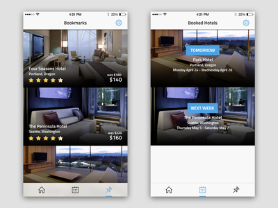 Hotel Booking App Bookmarks & Booked Hotels Screens neat clean minimal flat ui ios iphone