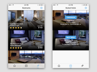 Hotel Booking App Bookmarks & Booked Hotels Screens