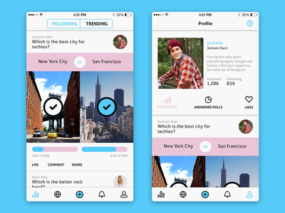 Social Polling App  clean social minimal flat ui ios iphone