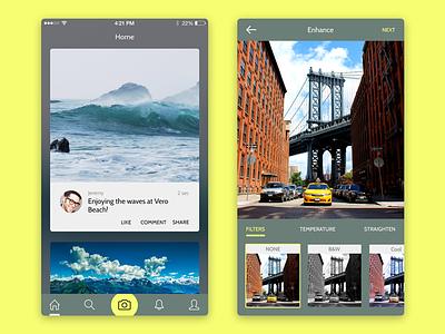 Adventure Sharing App clean social minimal flat ui ios iphone