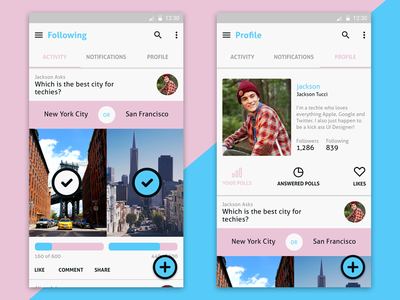 Social Polling App Android  minimal neat clean material design android