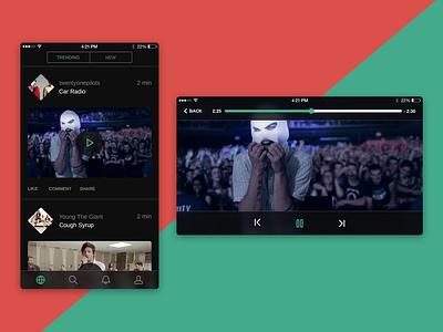 Music Video App  neat clean minimal flat ui ios iphone