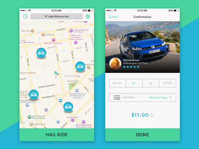 Ridesharing App  neat clean minimal flat ui ios iphone