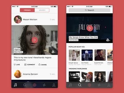 Social Music App Feed & Search clean social minimal flat ui ios iphone