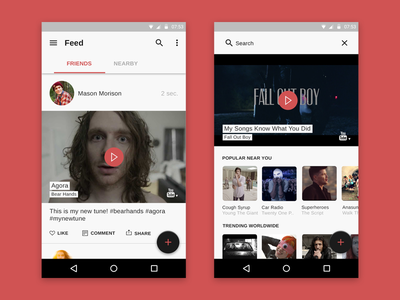 Social Music App Feed & Search Android minimal neat clean material design android
