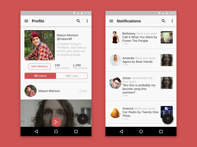 Social Music App Profile & Notifications Android minimal neat clean material design android
