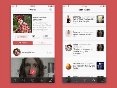 Social Music App Profile & Notifications clean social minimal flat ui ios iphone