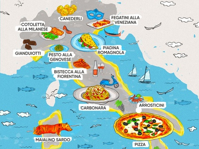 Food Map Illustration gianduiotti veneziana vespa pasta carbonara italy pizza illlustration map food