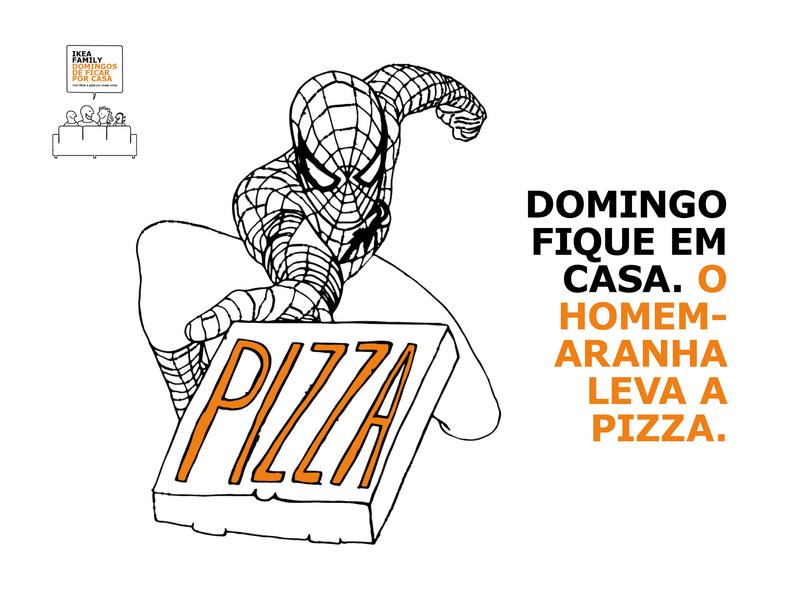 Spiderman brings the pizza design brand illustration
