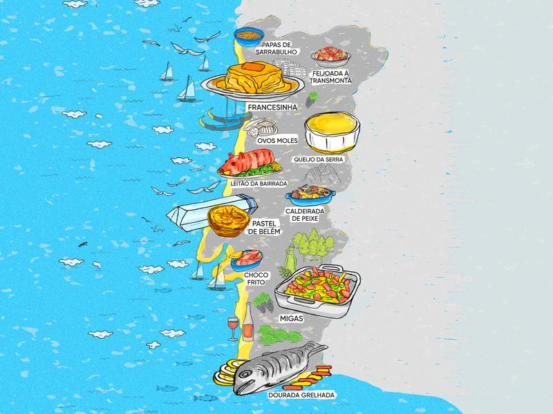 Portuguese Food Map fish pig cheese pastel nata francesinha map food illustration