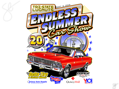 Tri-State Lugnuts Endless Summer Car Show apparel graphics separation screen print illustrator vector illustration design
