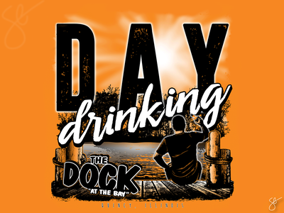 The Dock - Day Drinking portrait illustration procreate photoshop separation apparel graphics screen print illustration vector illustrator design