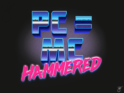 PC = MC Hammered poster design procreate photoshop separation apparel graphics screen print illustration vector illustrator design
