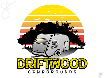 Driftwood Campgrounds poster art branding logo separation apparel graphics illustration screen print vector illustrator design