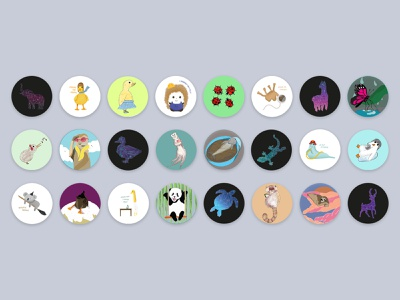 Animal Stickers sticker design animal stickers animal art stickers animal ui logo packaging print design illustration design