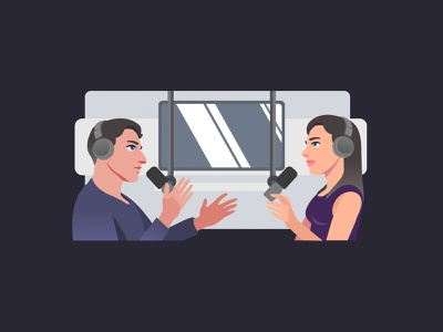 Podcast World talk human character dribbble vector flat illustration