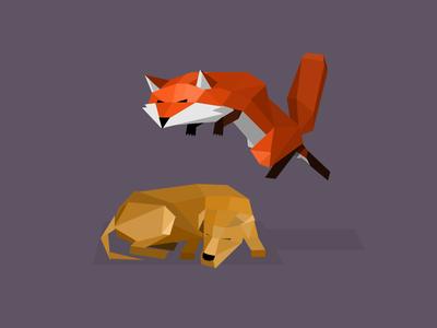 Polygon Fox pixelated illustration character poly low polygon dog fox