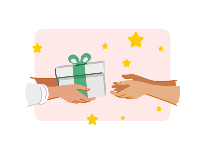 The season of gifts gifts human hand vector flat dribbble illustration