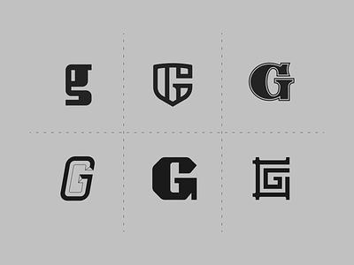 G exploration logo mark vector branding wip illustrator concept gray letters lettering g letter