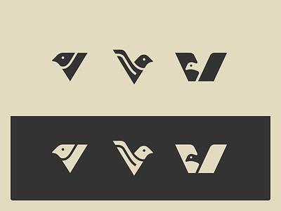V+Bird mark [wip] brand identity letter v lettermark v birds pigeon bird illustrator branding lettering medieval animal vector mark logo