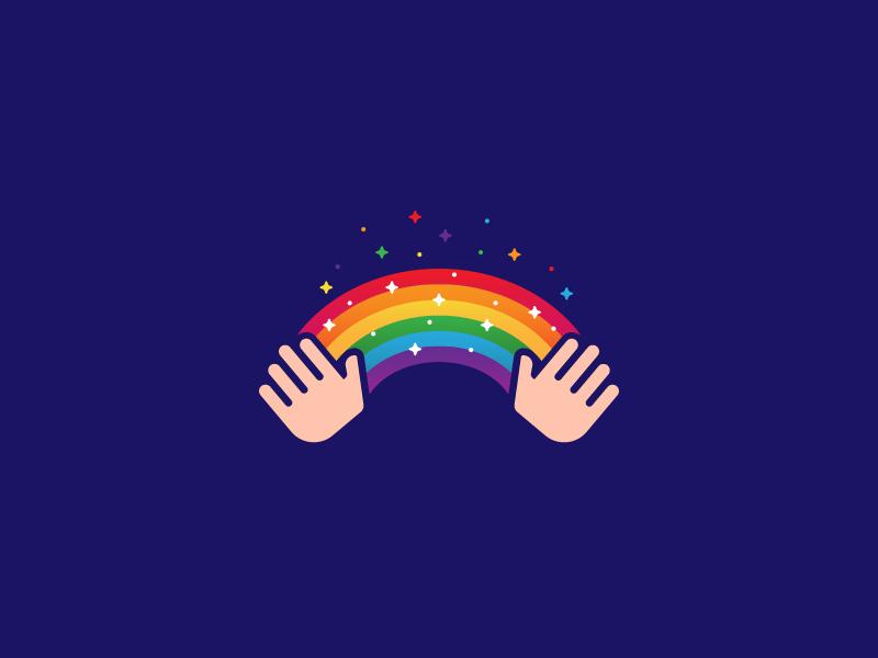 Magic! design logo monogram colors rainbow magic hands illustration