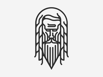 Hermit portrait face dreads old man hermit beard illustration illustrator line art gray hairy