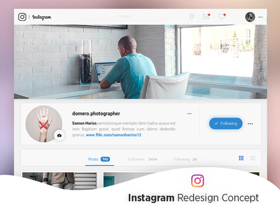 Instagram Redesign Concept type web flat hello branding shots behance clean user interface typography ux ui redesign photoshop new style adobe xd dribbble designs design creative