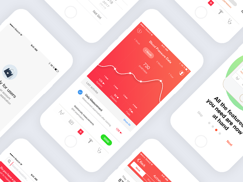 Pressure Heart Assistant App ux user interface ui graphs data chart health heart medical app android ios