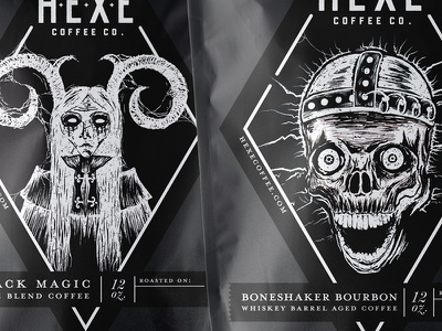 Hexe Coffee Labels bag illustration black magic scary packaging label coffee