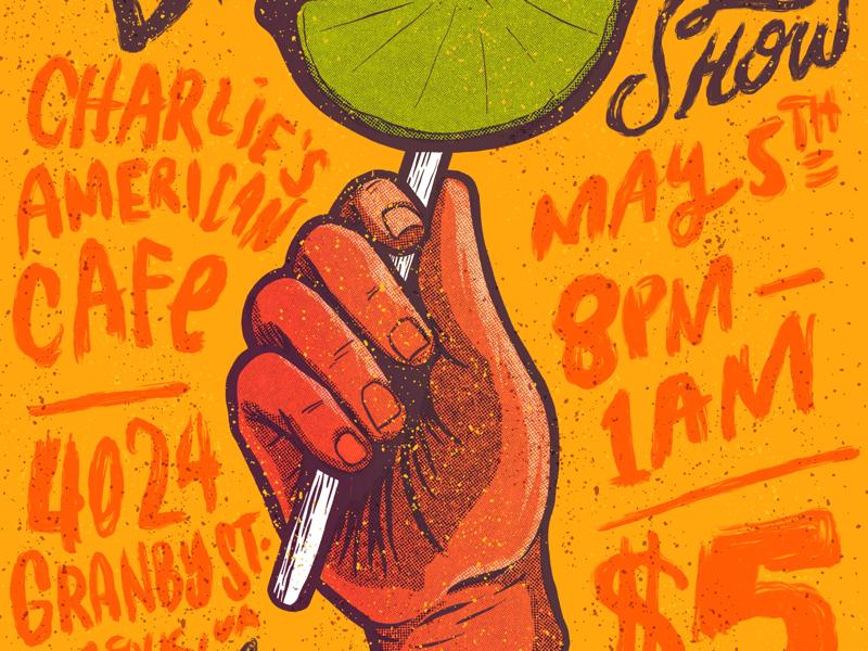 Album Release Gig Poster print vintage halftone illustration gig poster