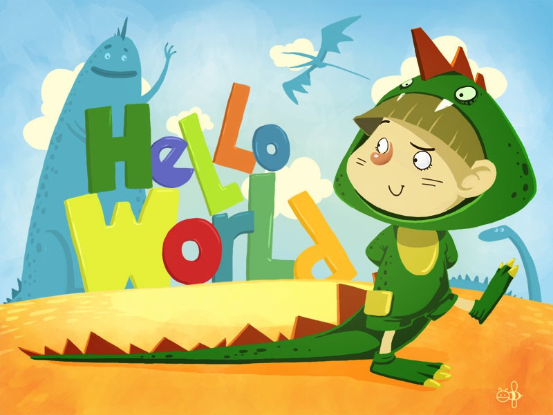 Hello world! illustration kid wacom