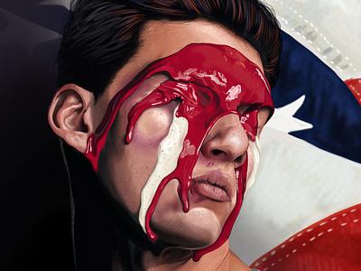 Red, White & Bruised painting realism portraiture digital portrait realistic portrait illustration digital painting digital art photoshop