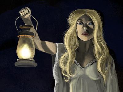 A Thump in the Night painting disturbing blonde hair lantern night dark illustration cintiq photoshop horror