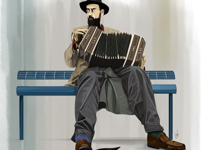 People Watcher figurative accordian man realism figure painting photoshop digital art digital illustration illustration