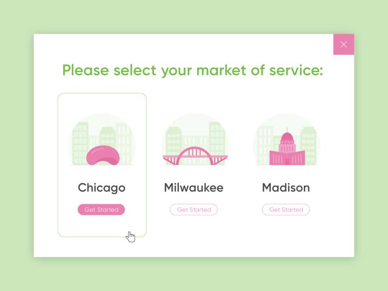 Doorage :: Location Pop-up pop up popup get started madison milwaukee chicago web design design ux ui store storage green pink icons illustration