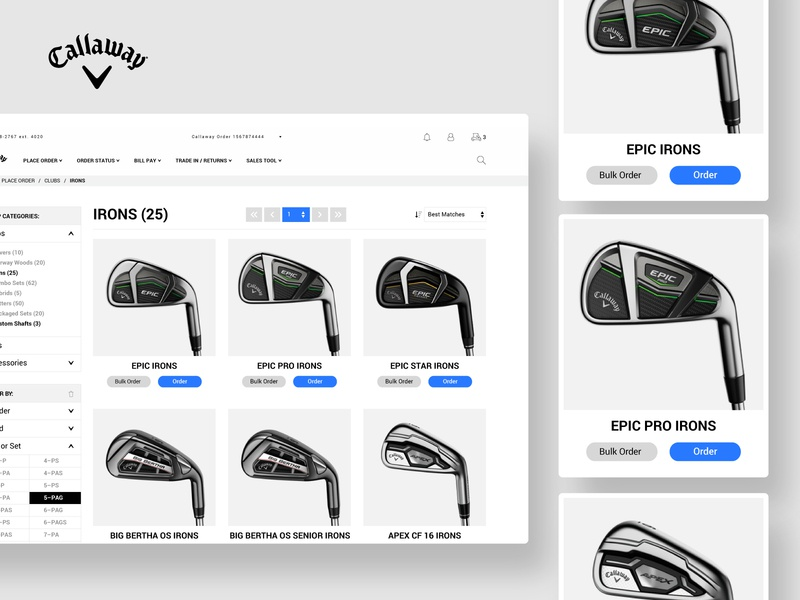 Callaway :: Product Grid product ecommerce product design minimal shopping hierarchy clean filtering product cards