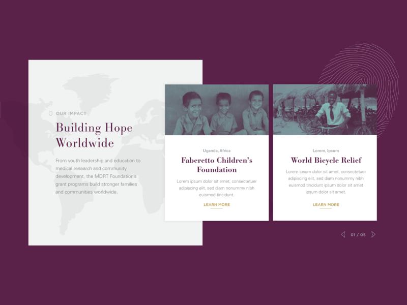 MDRT Foundation :: Our Impact map blog card style cards serif font grant donate non-profit foundation purple image overlay web design design ux ui