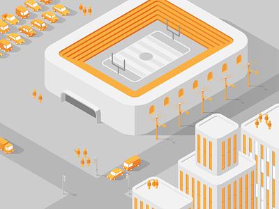 ExteNet :: Urban Illustration urban city stadium infographic connection infrastructure tech digital library icon technology internet illustration isometric
