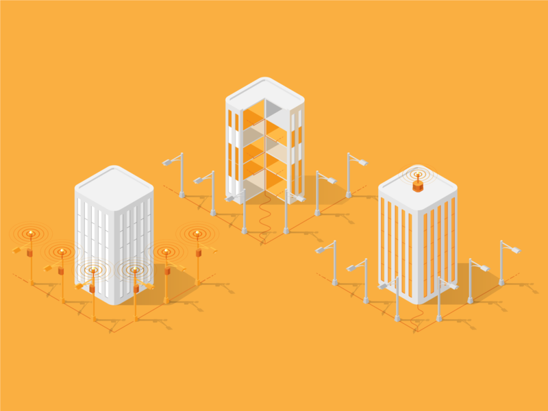 ExteNet :: Building Illustration diagram dissected infographic connection infrastructure tech digital library icon technology internet illustration isometric