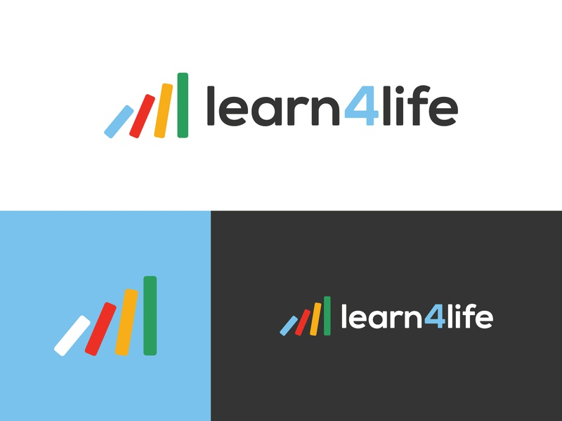 Learn4Life :: Logo book books red green blue yellow brand learn learning