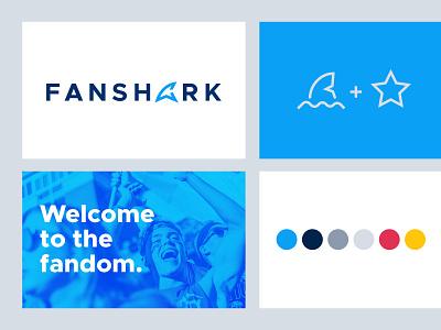 Fanshark :: Brand Elements logo exploration brand colors color scheme ecommerce word mark wordmark all caps blue celebrities celebrity fandom fan fin shark fin shark logo mark logotype logo branding brand