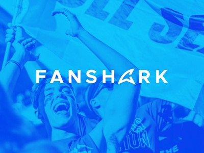 Fanshark :: Full Logo typography ecommerce word mark wordmark all caps blue celebrities celebrity fandom fan fin shark fin shark logo mark logotype logo branding brand