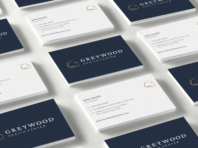 Greywood Health Center :: Business Cards graphic design print navy logo business cards mental health modern nature health minimal brand branding