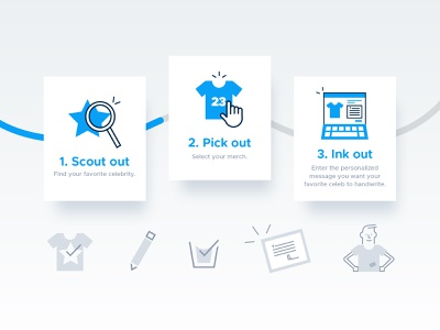 Fanshark :: How it Works Iconography ecommerce fandom fans merchandise merch celebrities hiw how it works card style tags iconography icons mvp app product design web app website web