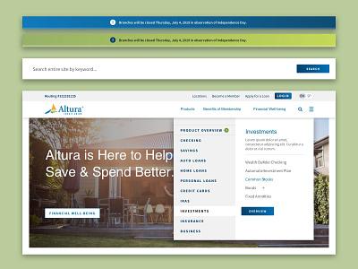 Altura :: Homepage Hero search notification mega nav icons products credit loans credit union bank finance navigation hero homepage website web
