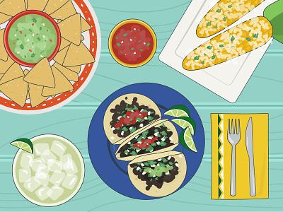Cinco de Mayo mexico illustrations chips salsa corn margarita tacos culture mexican cinco de mayo