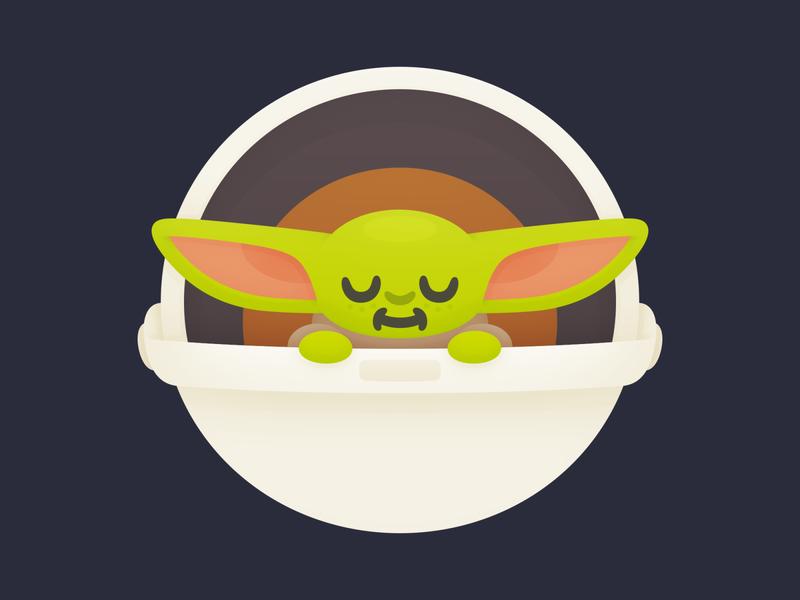 Bubba Yoda cute mandalorian star wars yoda baby illustration
