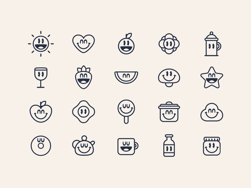 Pretty Green Icons character cute food icon illustration pretty green